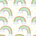 Vector seamless pattern Hand drawn illustration of a rainbow out of the clouds