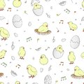 Vector seamless pattern with hatching chicks
