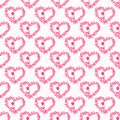 Seamless pattern with hearts and tulips