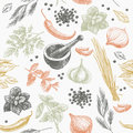 Vector seamless pattern with herbs and spices