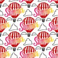 Vector Seamless Pattern Hot Air Balloon and summer inscription hand lettering with cloud on white background.