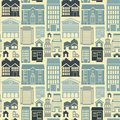 Vector seamless pattern with houses and buildings building icons in flat retro style Royalty Free Stock Images