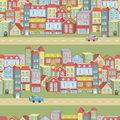 Vector seamless pattern with houses and roads town concept background you can be used for wallpapers fills web Stock Image