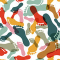 Vector seamless pattern with human footprint. Abstract multicolor overlapping background with prints of foot Royalty Free Stock Photo