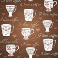 Vector seamless pattern with I love coffee Stock Photo