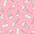 Vector seamless pattern with ice cream. Hand drawn ice cream seamless pattern. Seamless ice creams drawn by doodle style
