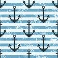 Vector seamless pattern with icons of anchor. Creative geometric blue lined grunge background Royalty Free Stock Photo