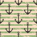 Vector seamless pattern with icons of anchor. Creative geometric green lined grunge background, nautical theme. Royalty Free Stock Photo