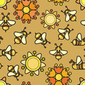 Vector seamless pattern. Included bee and flower.