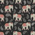 Vector seamless pattern with indian decorated elephants.