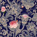 Vector seamless pattern. Indian floral backdrop. Paisley. Fashion style. Design for fabric. Roses. Provence style