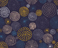 Vector seamless pattern with ink circle textures. Abstract seamless background with colorful fireworks. Royalty Free Stock Photo