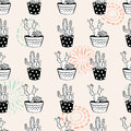 Vector seamless pattern with ink circle textures, cactuses and succulents in pots
