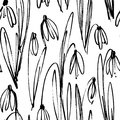 Vector seamless pattern with ink drawing snowdrops, herbs and flowers, monochrome artistic botanical illustration