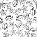 Vector seamless pattern of isolated carambola. hand drawn colored exotic fruits. Engraved art.