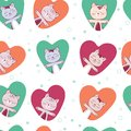 Vector seamless pattern with kitten. Funny background with animals for kids. Cute in love cat in heart. Romantic. White