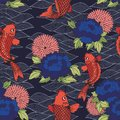 Vector seamless pattern with koi carp and flowers on a dark background. Hand drawing for design