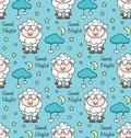 Vector seamless pattern with lambs, hearts, stars, moon, clouds and text.