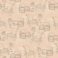 Vector seamless pattern with lamp and chair on beige background Royalty Free Stock Photo