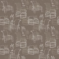 Vector seamless pattern with lamp and chair on taupe background Royalty Free Stock Photo