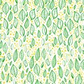 Vector seamless pattern with leaves, branches and dots