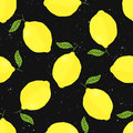 Vector seamless pattern with lemons on black background Royalty Free Stock Photo