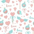 Vector seamless pattern with lollipop hearts, bows, magic potion, wings on white background. Cute magical love watercolor style