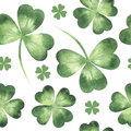 Vector seamless pattern made of clover leaves.