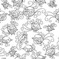 Vector seamless pattern many little birds black on white background and colors Stock Photo