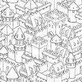Vector seamless pattern with medieval architecture. Cute cartoon city.