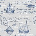 Vector seamless pattern for menu design in a marine style. Old ship, sea monsters, fish Royalty Free Stock Photo