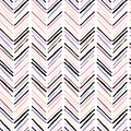 Vector seamless pattern of modern brush spots making geometric chevron. Trendy pastel rose, beige and purple colors. Royalty Free Stock Photo