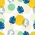 Vector seamless pattern with monstera palm leaves and geometric elements