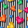 Vector seamless pattern. Multicolor jewel, gems in heart shape on black white stripes.