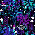 Vector seamless pattern with night forest plants, and fairy house.