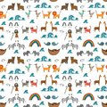 Vector seamless pattern with Noah`s Ark concept