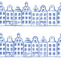 Vector seamless pattern with old european hand drawn houses, Building sketchy line art isolated on white background