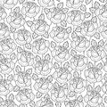 Vector seamless pattern with old school rose flower in black