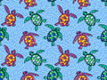 Vector seamless pattern with ornamental ocean turtles. Blue hand drawn design.