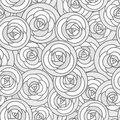 Vector seamless pattern with outline decorative roses in gray tones. Beautiful floral background, stylish abstract flowers.