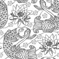 Vector seamless pattern with outline koi carp and lotus or water lily in black on the white background. Japanese ornate fish.