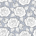Vector seamless pattern with outline rose flower, stems and leaves in black on the gray background. Elegance floral background.