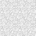 Vector seamless pattern with outline rose flower, stems and leaves in black on the white background. Elegance floral background.