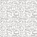 Vector seamless pattern with outlined protein food signs