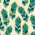 Vector seamless Pattern with peacock feathers Royalty Free Stock Photo