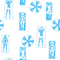 Vector seamless pattern with people on beach. Hand drawn illustr Royalty Free Stock Photo