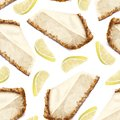Vector seamless pattern piece of cheesecake cake, lemon.Delicate creamy-curd cheese. Scattered lemon halves. Crisp, crumbly cake