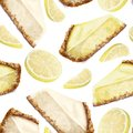 Vector seamless pattern piece of cheesecake, lemon. Delicate creamy-curd lemon flavored cheese. Scattered lemons. Crisp, crumbly