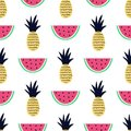 Vector seamless pattern with pineapple and watermelon