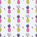 Vector seamless pattern with pineapples and triangles